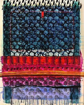 Καρακατσάνης Βασίλης, Carpets2-Plankton, 150 X 120 cm, Μονοτυπία, ακρυλικά, γκουάς και λάδι σε καμβά, 2017